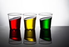 Traffic light colour drinks, slanted. Red yellow and green. Stop Stock Photos