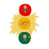 The traffic light consists the sun and the girls. Lovely illustration in cartoon flat style Royalty Free Stock Photos