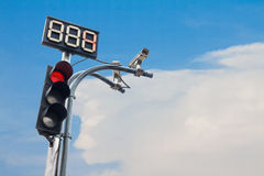 Traffic light with countdown number and cctv Royalty Free Stock Photos