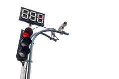 Traffic light with countdown number and cctv Stock Photos