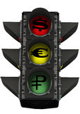 Traffic light with currency symbols Royalty Free Stock Photography