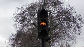 A traffic light for cyclists. London. England. United Kingdom.  Architecture and details of the city stock video