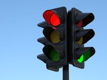 Traffic Light 3d illustration. On light blue sky Royalty Free Stock Images