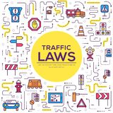 Traffic light day and highway code outline icons set. Vector thin line Urban sign road transportation illustration royalty free illustration
