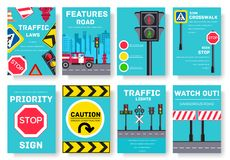 Traffic light day vector brochure cards set. Urban sign template of flyear, magazines, poster, book cover, banners. Road. Transportation invitation concept Royalty Free Stock Image