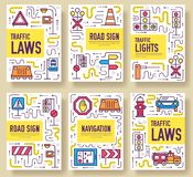 Traffic light day vector brochure cards thin line set. Urban template of flyear, magazines, posters, book cover, banners. Layout road transportation outline Royalty Free Stock Image