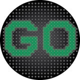 Traffic light displaying text GO Royalty Free Stock Photography