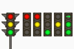 Traffic light. Electric sign for regulate traffic on the road with red, yellow, green lamps and arrows. Vector. Royalty Free Stock Image