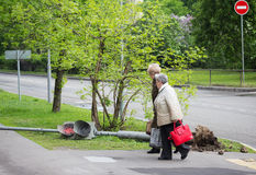 The traffic light fell after a hurricane in Moscow on May 29, 20 Royalty Free Stock Photos
