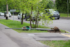 The traffic light fell after a hurricane in Moscow on May 29, 20 Royalty Free Stock Photo