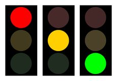 Traffic light, figure. Figure of a traffic light in three variants with a different luminescence of lamps. Each picture is isolated from the others Stock Image
