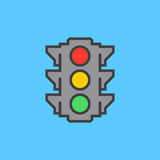 Traffic light filled outline icon, line vector sign, flat colorful pictogram. Symbol, logo illustration. Pixel perfect. Royalty Free Stock Images