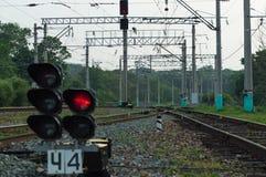 Traffic light. Railway. royalty free stock photo