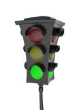 Traffic light with a glowing green light. Isolated on white background Stock Images