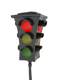 Traffic light with a glowing red light. Isolated on white background Royalty Free Stock Photography