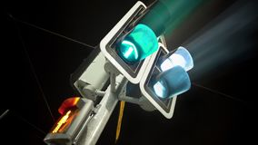 Traffic light green for cars and red for people, transportation, urban life royalty free stock photos