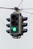 Traffic light with green light. A traffic light with green light. symbolic photo for free travel, and economic success royalty free stock images