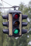 Traffic light with green light Stock Photos
