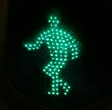 Traffic light green man 1. Green traffic sign man in walking position Royalty Free Stock Photo