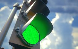 Traffic Light Green. Traffic light with green light on, signal open to go ahead Stock Image