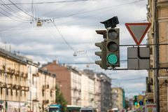 Traffic light on green, stock photos