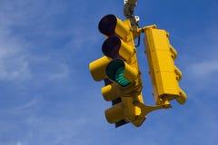 Traffic light on green Stock Photos
