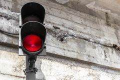 Traffic light on a grunge background stock photography