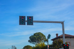 The traffic light on the highway. Stock Image