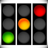 Traffic light icons isolated on white. Green, yellow, red light. Icons. Traffic lamps, semaphores. - Royalty free vector illustration Stock Photos