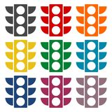 Traffic light icons set Royalty Free Stock Photos