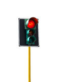 Traffic light isolated on white background is lit red Royalty Free Stock Image