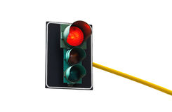 Traffic light isolated on white background is lit red royalty free stock images