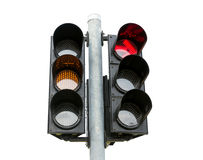 Traffic light isolated on white background Royalty Free Stock Photos