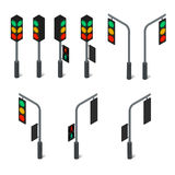Traffic light. Led backlight. Flat isometric. Royalty Free Stock Photography