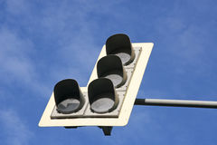 Traffic Light. S with arrow to left on a Moscow road royalty free stock photo