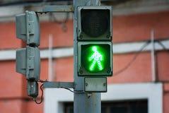 Traffic light. Litle green man on a traffic light Royalty Free Stock Photography