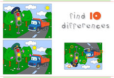 Traffic light and lorry on the road. Educational game for kids: Stock Image