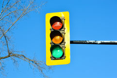 Traffic light Montreal downtown royalty free stock photos