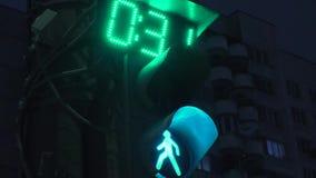 Traffic light at night green stock footage