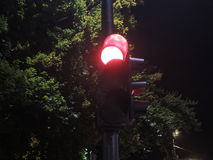 Traffic light at night-time showing red Stock Photos
