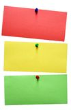 Traffic Light Notes w/ Path. An isolated red, yellow and green note pined on a white background. File contains clipping path Stock Photography
