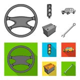 Traffic light, old car, battery, wrench, Car set collection icons in monochrome,flat style vector symbol stock. Illustration Stock Photography