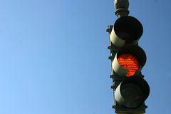 Traffic light ORANGE Stock Photo