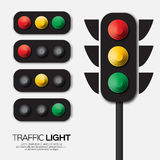 Traffic light. Origami Red, yellow, green lights - Go, wait or slow, stop. Paper cut International Traffic Light's Day. Applique Vector design illustrations Stock Photos