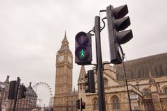 Traffic light at Parliament square, London Stock Images