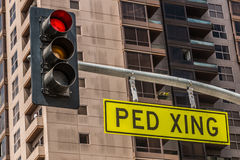 Traffic Light with Pedestrian Crossing Sign Stock Photo