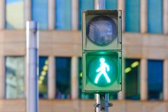 Traffic light pedestrian lights green pass. Traffic light pedestrian lights green Royalty Free Stock Images