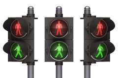 Traffic Light Pedestrian. Pedestrian traffic light on white background. Concept of traffic, easy to isolate Royalty Free Stock Photos