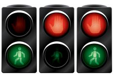 Traffic light for people. Variants. Vector illustration. Isolated on white background Royalty Free Stock Photos