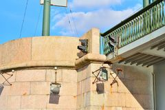 Traffic light on pole Grenadier bridge across the river Bolshaya Stock Photos